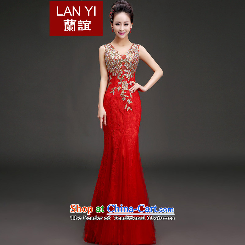 Lan-yi marriages bows dress Korean crowsfoot video thin shoulders evening dresses�V-neck under the auspices of the annual concert dress skirt red banquet to align the�2 feet of the M code waist