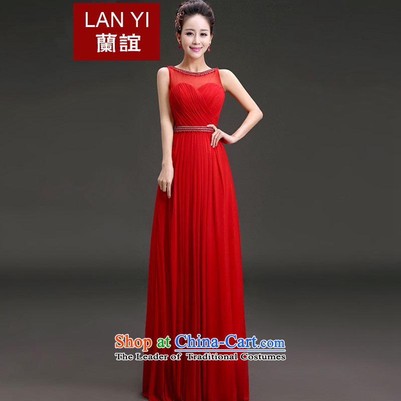 In?2015 the new friends marriages bows dress Korean style graphics thin red to dress the shoulders, under the auspices of the annual concert banquet dinner dress?code red S waistline 1.9 Feet