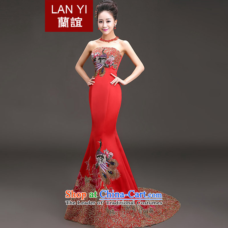 In�2015 followed the bride-yi won anointed chest crowsfoot show version banquet evening dresses red alignment of presiding over the conference services red tail�S waistline 1.9 feet code