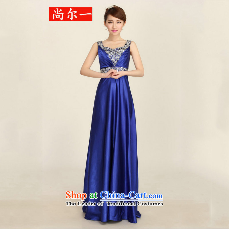 Yet, a banquet dinner dress 2015 new moderator bride bows to shoulder the staple pearl bridesmaid evening dress dh8100 Blue�M