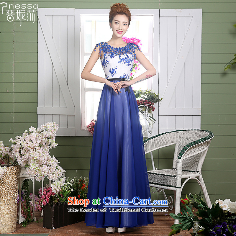 The Republika Srpska divas long autumn 2015 New 2 shoulder evening dresses Top Loin of Sau San video thin annual gathering of reception banquet evening dresses dresses elegance goddess blue tailor (cannot be refunded OH)