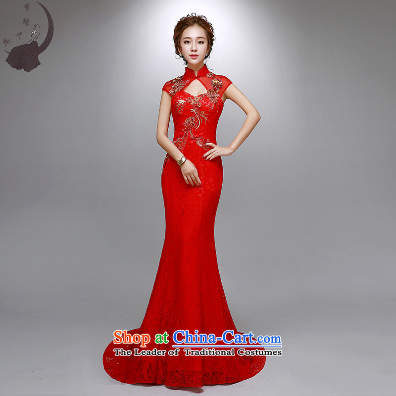 The leading edge of the new 2015 days marriages collar small trailing bows to the annual meeting banquet dress crowsfoot 8026 M 2.0 ft waistline red