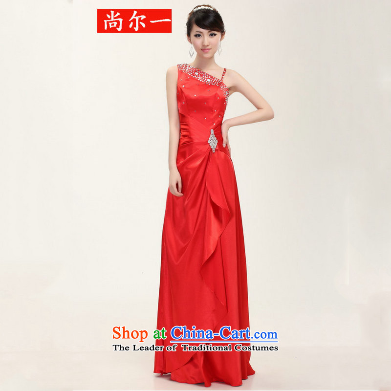 Naoji new single shoulder length of Sau San frockcoat bows to stage performances and stylish evening dress dh6803 RED�M