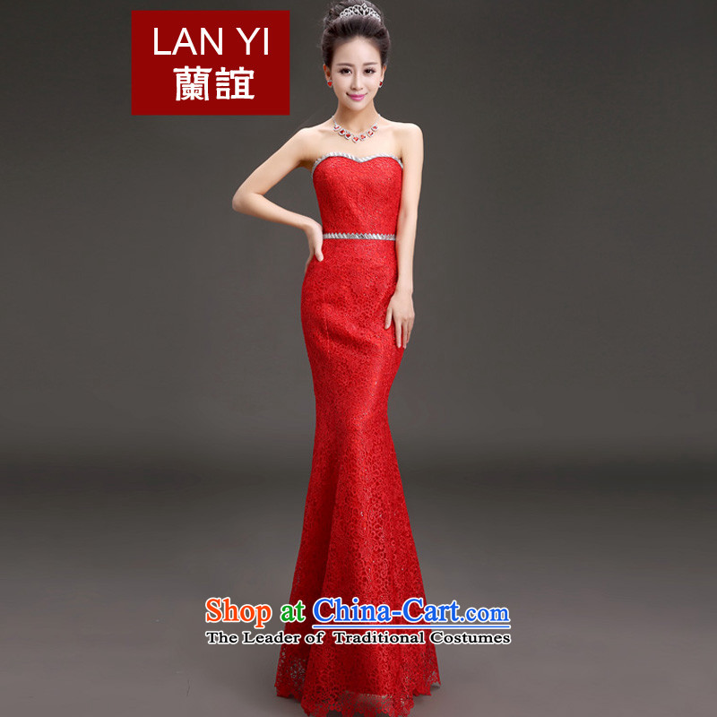 In the?spring of 2015, Friends new bride chest bows dresses and stylish Sau San video thin marriage long bride bows dress banquet will preside over the red?M code 2 feet waist
