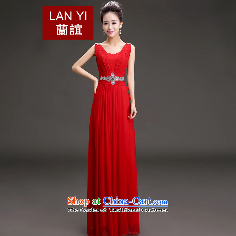 In the?spring of 2015, Friends new bride bows dress Korea version thin shoulders evening dress banquet will preside over the red?XL 2.2 feet waistline code