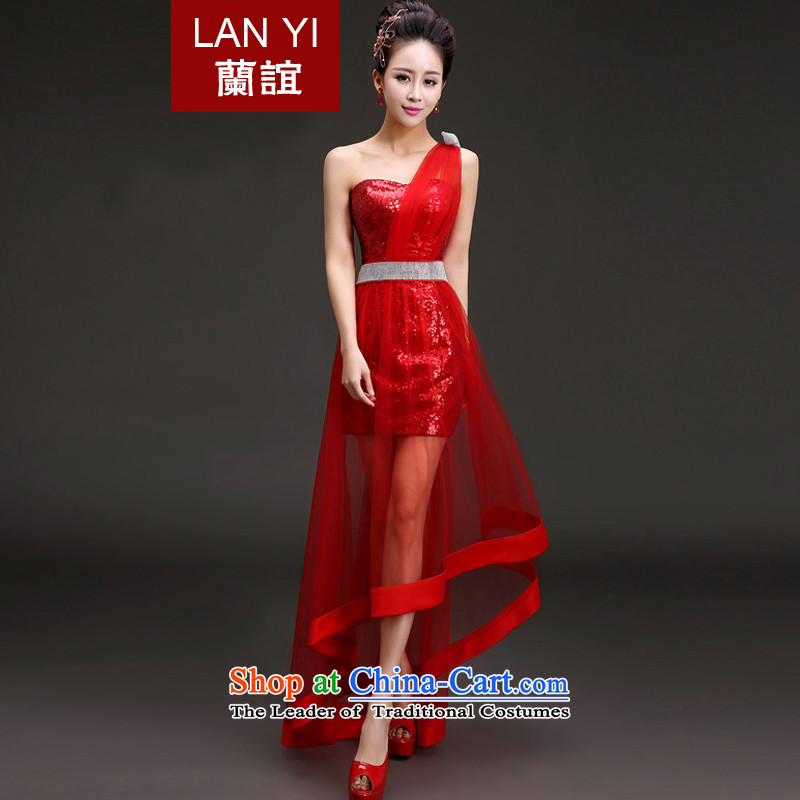 In?2015 the new friends spring and summer evening dresses Korean shoulder graphics thin front stub long after the bride wedding dress bows services under the auspices of performances banquet service?Code Red S waistline 1.9 Feet