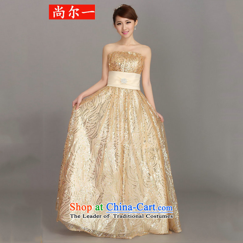 Naoji a dress marriage services dress bows bride of winter clothing and stylish dresses long bridesmaid dress female dh3413 champagne color?XXL