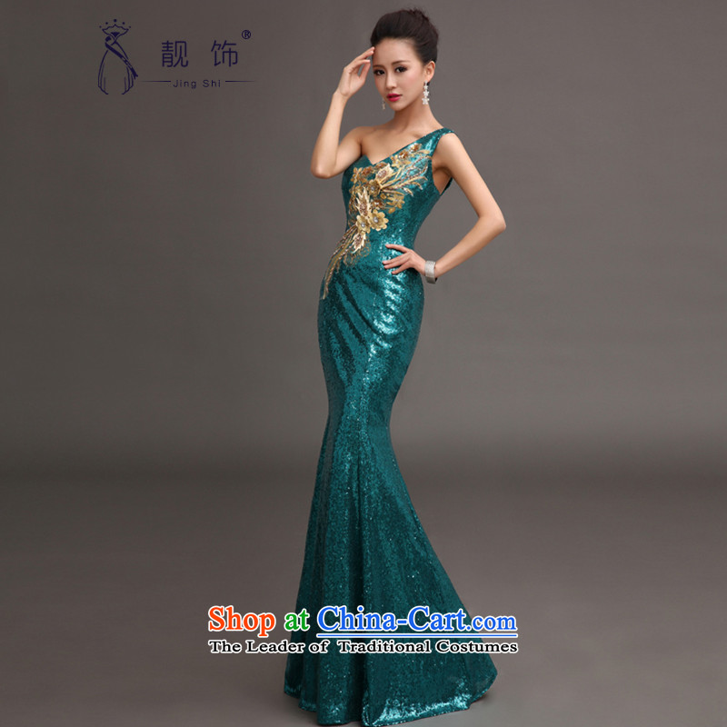 The talks with shoulder evening dresses 2015 new services on-chip bows luxury long crowsfoot dress moderator will align with the blue lagoon,?L