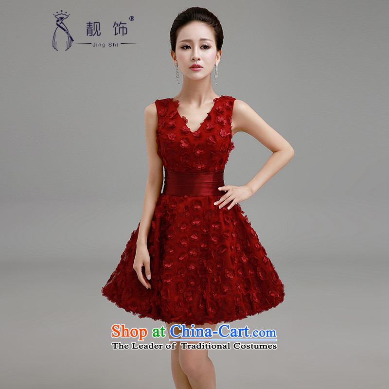 The new 2015 International Friendship dress marriage red bon bon skirt Fashion bridesmaid to serve the betrothal evening dresses bride bows services red S