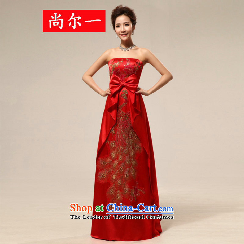 Naoji a 2014 new pregnant women married long qipao bride services XS6619 bows red�S
