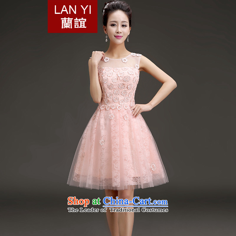 In�2015 the new bride-yi won a dress version shoulder small dress bridesmaid banquet short skirts dresses performances pink�S waistline 1.9 feet code