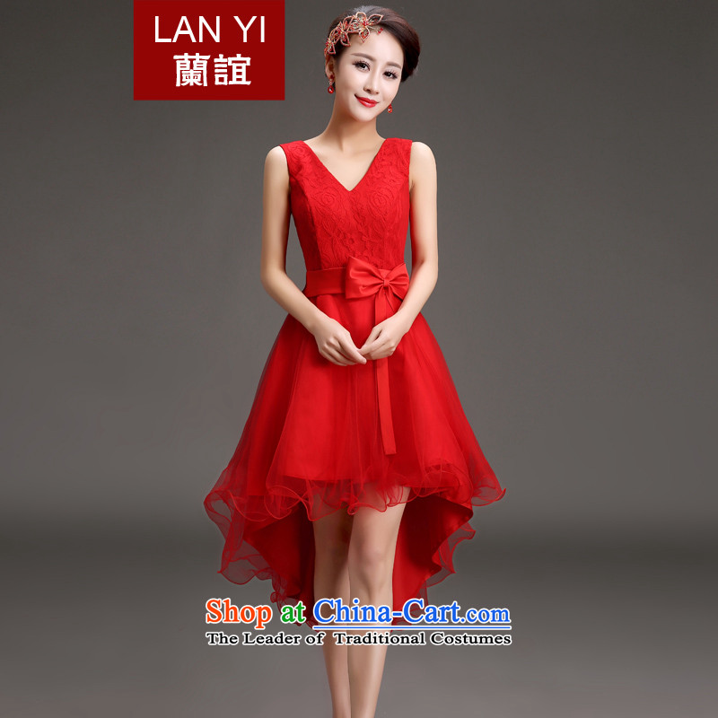 In?2015, the small bows brides friends dress Korean Spring Banquet performances shoulders Dress Short long after the former Red Dress?Code Red M waistline Skirts 2 feet