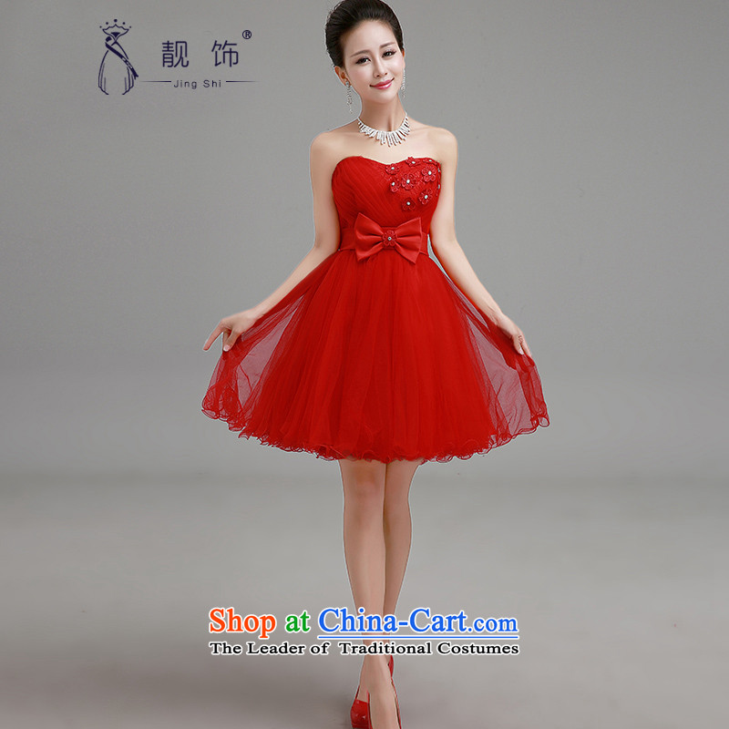 The new 2015 International Friendship With Red Dress Short of bride chest bridesmaids marriage bows services with small red dress�XXL