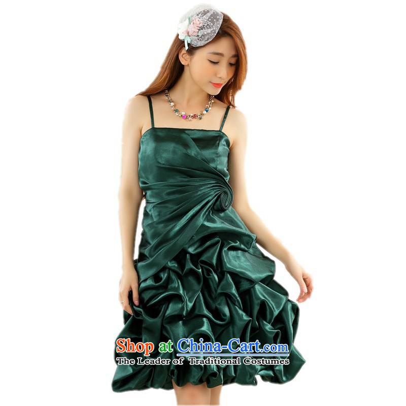 C.o.d. plus annual small dress code hypertrophy stylish bon bon lanterns skirt strap dresses thick mm bride bows dress sister bridesmaid skirt around 125-145 green XL catty