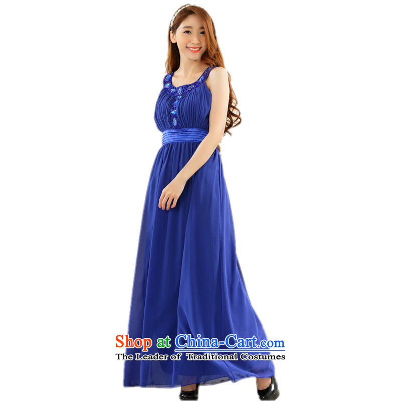 C.o.d. xl lady long skirt ironing drill vest dress chiffon thin conservative dress skirts video conference under the auspices of skirts and sisters bridesmaid dress blue�XL�about 125-145