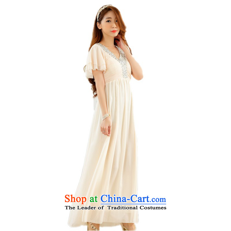 C.o.d. xl chiffon long skirt on-chip beads nail diamond V-Neck Niba cuff gentlewoman conservative dress annual meeting hosted a small skirt thick mm champagne color codes are approximately 90-120 catty