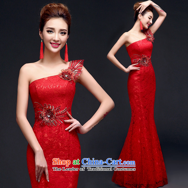 The privilege of serving-leung 2015 new red bride wedding dress long to align the evening dress bows services crowsfoot RED?M