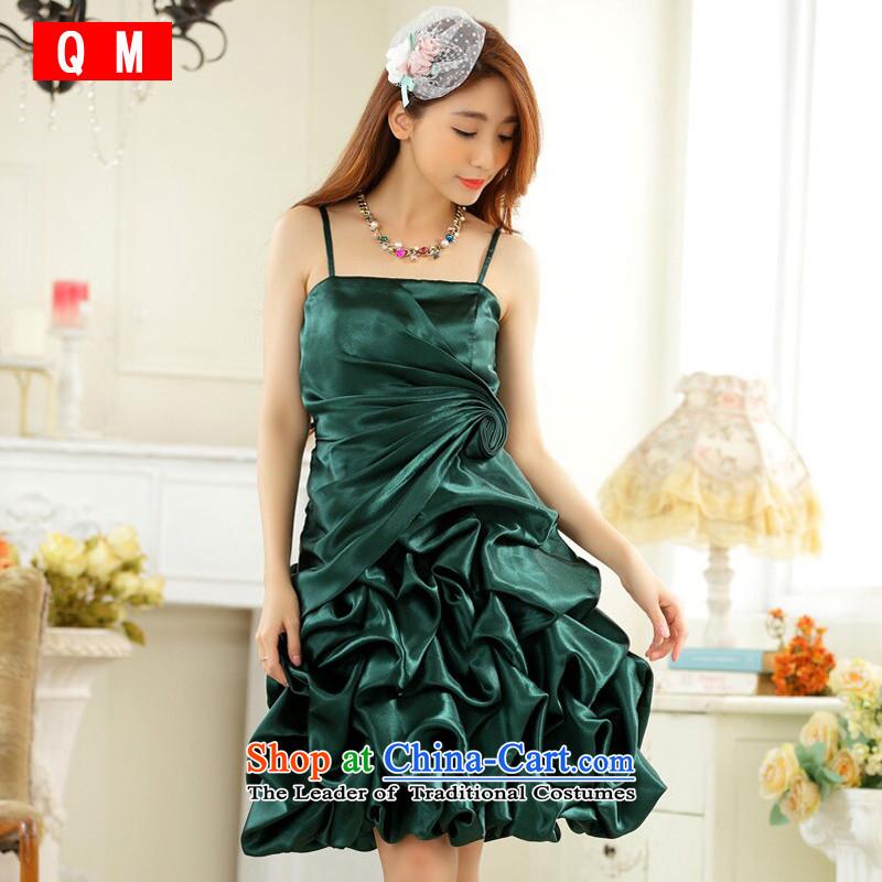 The end of the light (QM) stylish evening dress straps for wrinkle show skirt lanterns skirt host dress dresses�JK9726C-1�GREEN�XL