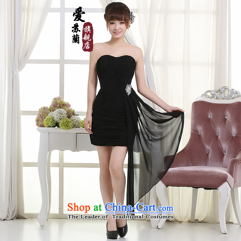 The new short Dress Casual dress into wine dresses banquet bridesmaid dress car models show the mandatory dress bridesmaid black dress chaired XL