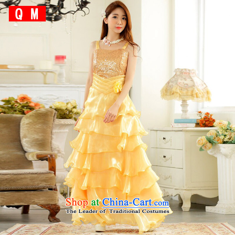 The end of the light (QM) dotting performances which drug store front auspices skirt large princess skirt straps long evening dresses dresses�JK9725B-1��XXXL yellow