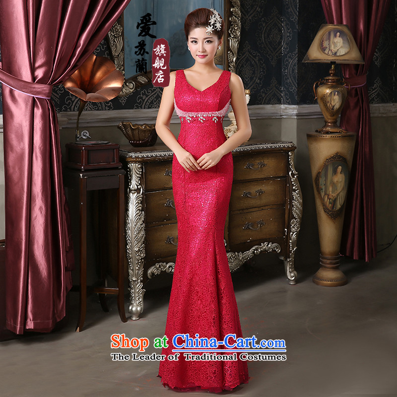 The New Simple gown dress shoulders car unit lace fabric dress bridal dresses evening long Lai Red�XL