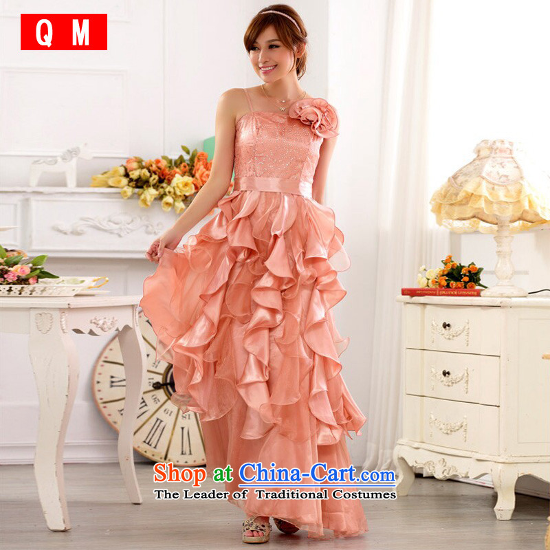 The end of the light (QM) show the beauty services nightclubs skirt large Princess on the lifting strap is skirt long evening dress skirt (removable) JK9723B pink?XL