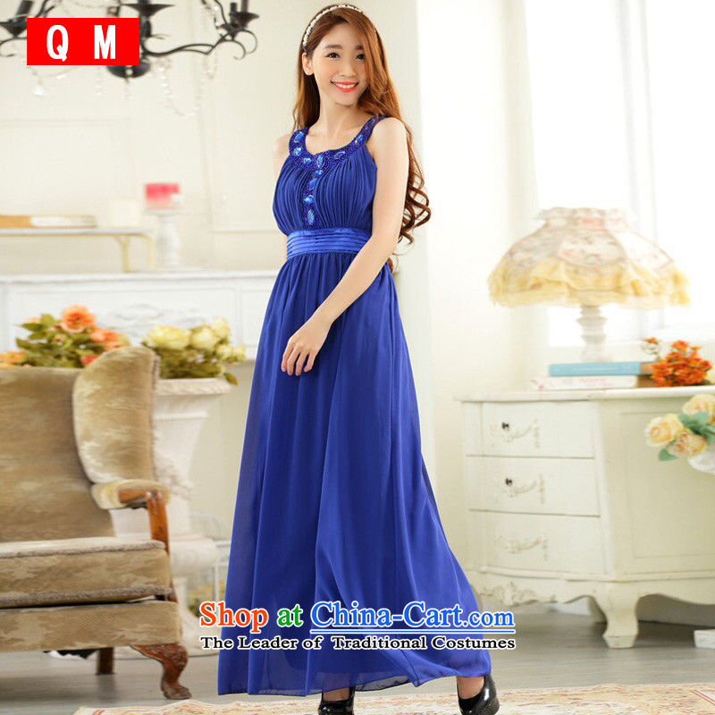 The end of the light (QM) Kampala shoulder hand nailed on the Pearl River delta drilling-long gown chiffon dresses?JK9627C-1?BLUE?XXL