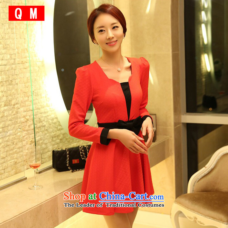 The end of the light _QM_ Korean Sau San video thin spell long-sleeved festive large skirt in skirt dresses thick MM maximum Code?Red?XXXL JK9921B-1 dress