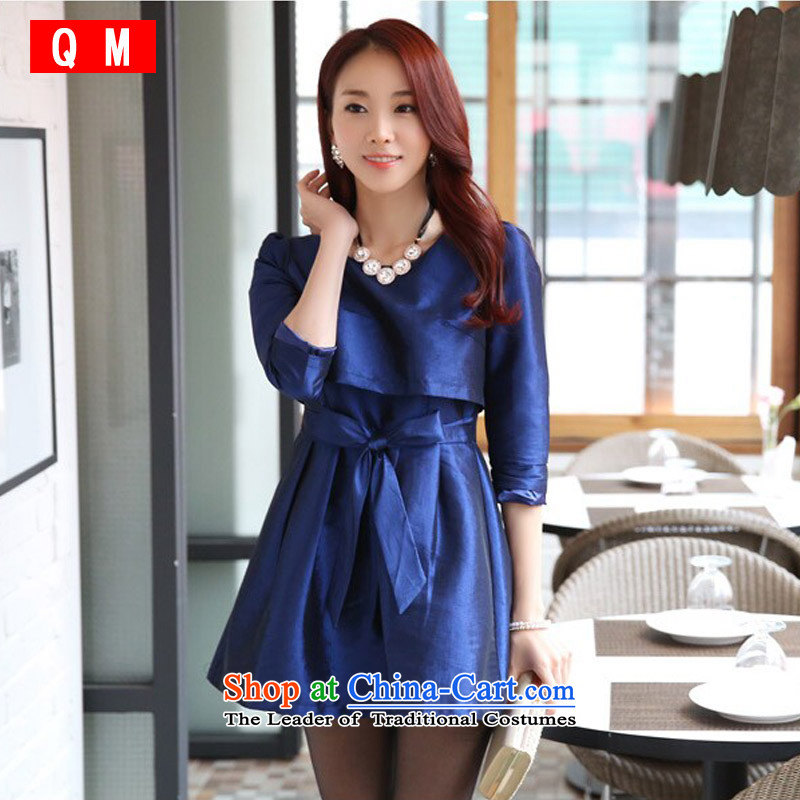 The end of the light (QM) Leave two long-sleeved temperament Sau San video thin A skirt bon bon skirt dresses thick MM larger dress? JK9724B-1?BLUE?XXL