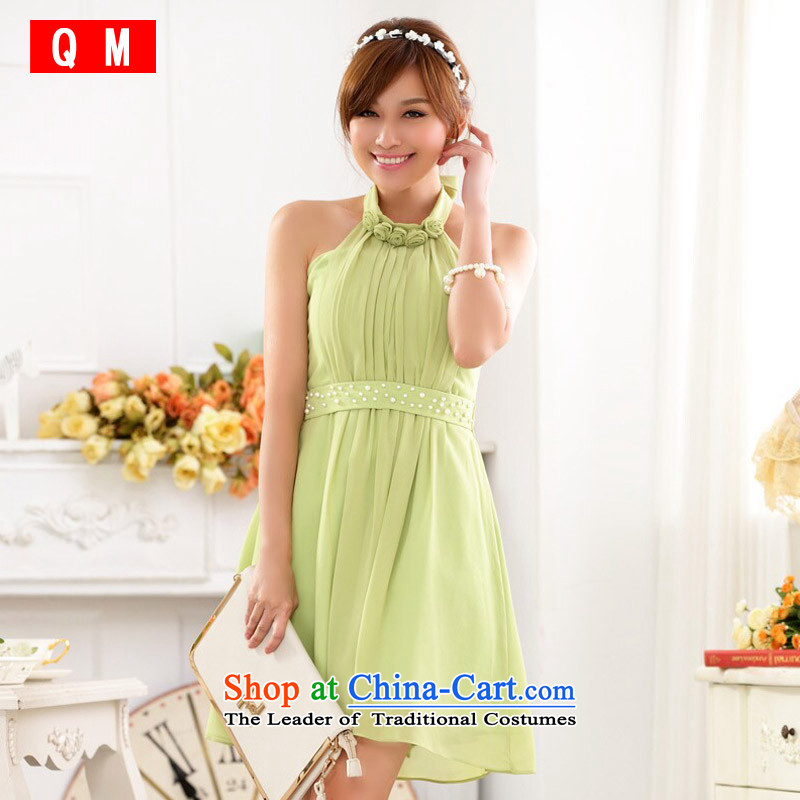 The end of the light (QM) sweet a nail-ju wrapped chest sister skirt chiffon annual large dresses dress?code are green fruit JK9917C-1