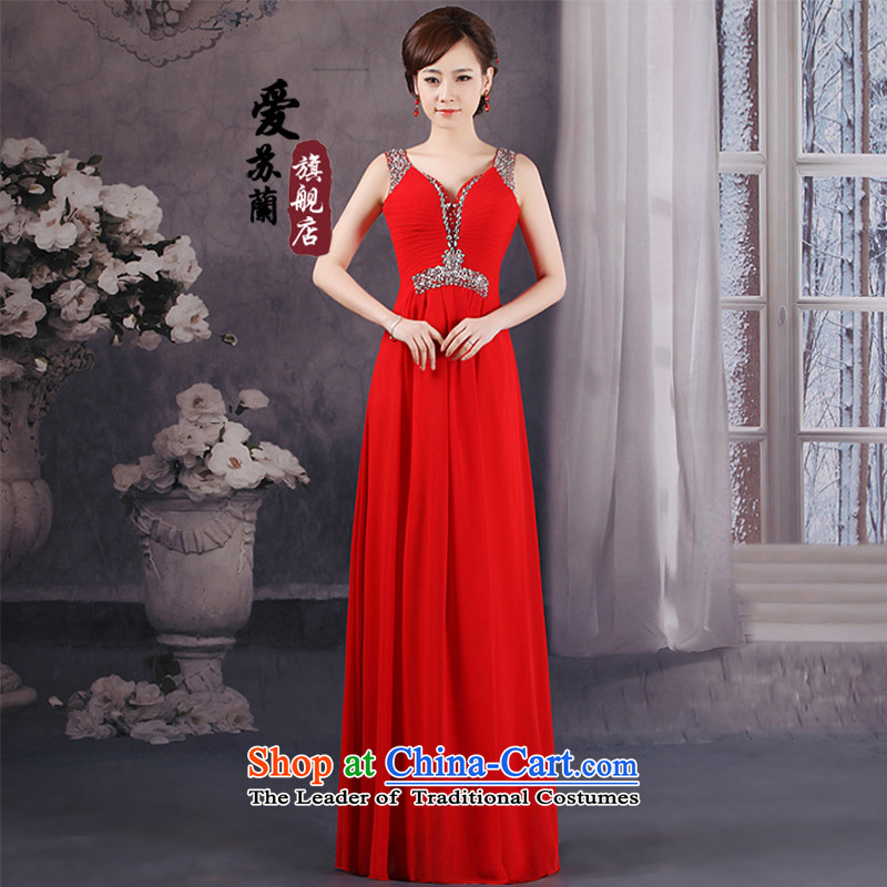 New 2 shoulder dress princess wedding red with V-Neck Mount Bridesmaid Service Bridal toasting champagne evening dresses red marriage�M