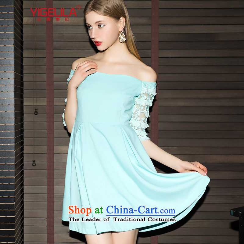 Yi Ge lire gentlewoman temperament lace fifth cuff fresh aristocratic word for small dress dresses blue 6,843 All Ranks S