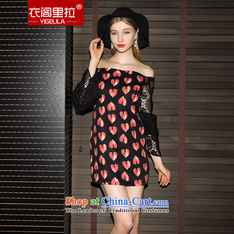 Yi Ge Black Lace Embroidery lire word for long-sleeved mahogany and stamp banquet dress dresses peach placed at 6,842 m