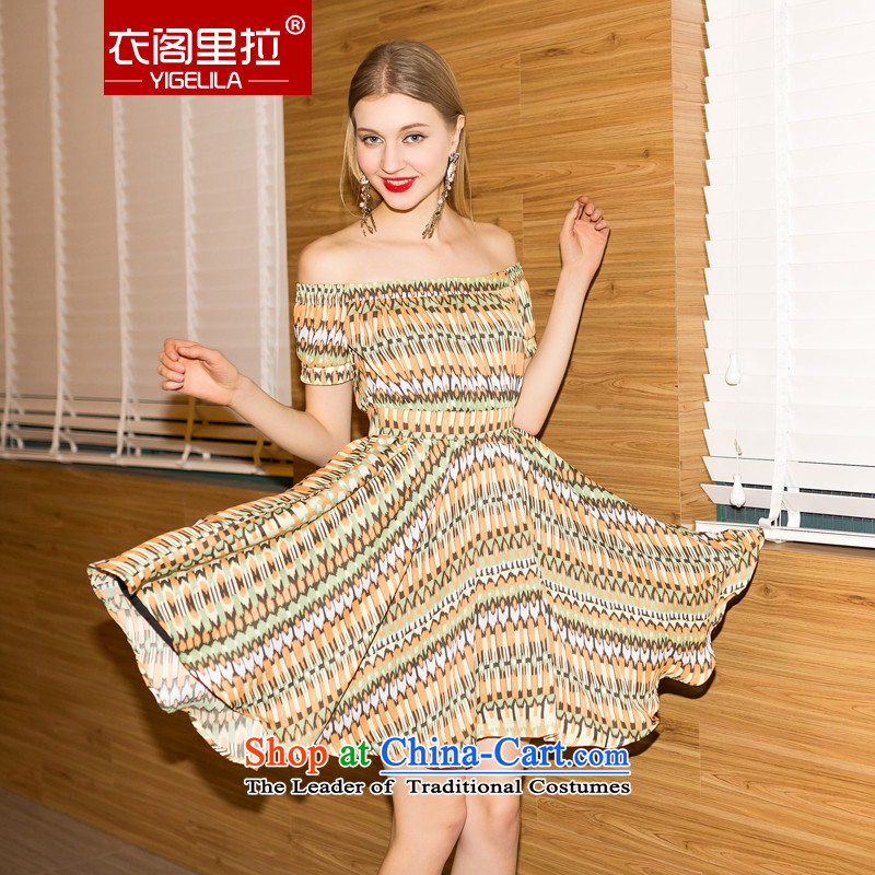Yi Ge lire gentlewoman temperament chiffon stamp bare shoulders short-sleeved foutune saika large small dress dresses stamp 6,832 M