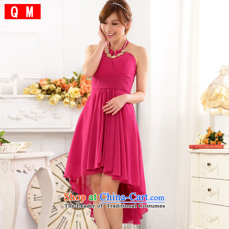 The end of the light (QM) bare shoulders hang also sexy foutune show large chiffon dovetail dress dresses�JK9915C-1�rose are code