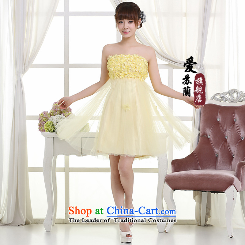 Wedding dresses new paragraph, auspicious wedding dress, the new new new bridesmaid) short dress Top Loin of Korean dress pale yellow�XXL