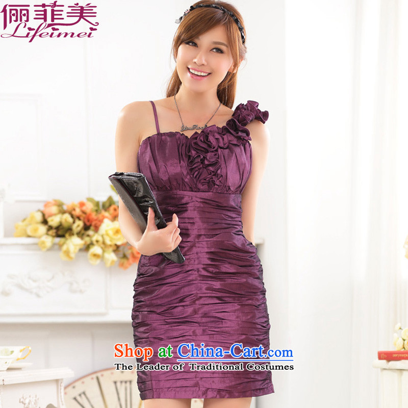 Li and the western style and sexy package shoulder and FIT dinner show preside over the great number of Sau San dress dresses purple no elastic�L