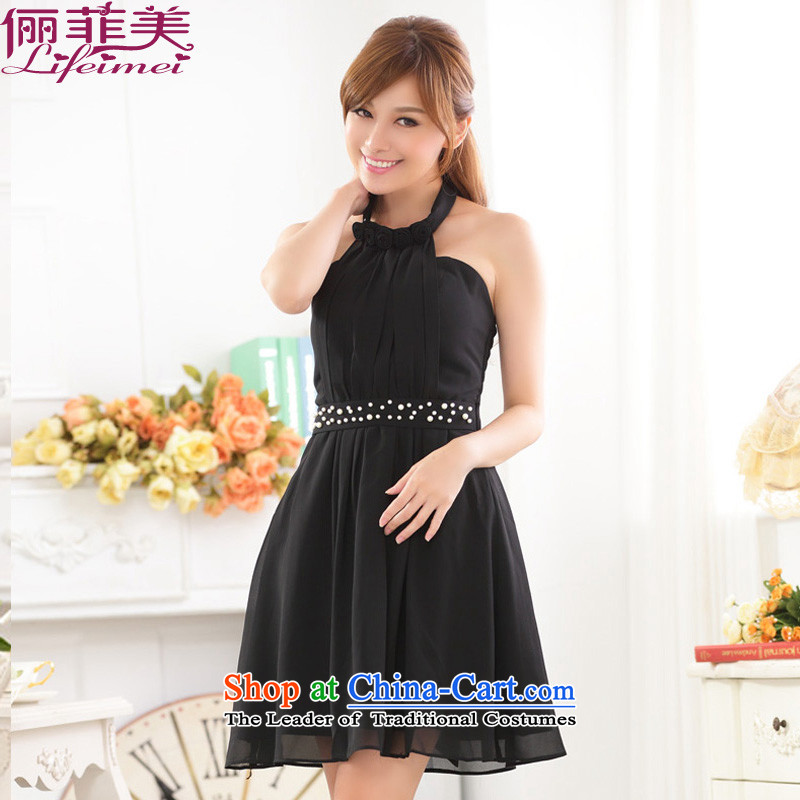 158 and the date of a nail pearl sweet wrapped chest sister bridesmaid skirt chiffon annual large dresses dress dresses Black?XL 115-135 for a catty