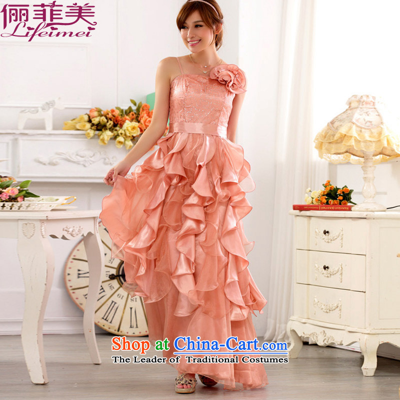 158 stylish and the annual meeting of the Evening Show Services nightclubs skirt Top Loin of Princess skirt on the lifting strap is long drink large video bride thin evening dresses dresses pink�XXL 135-155 for a catty