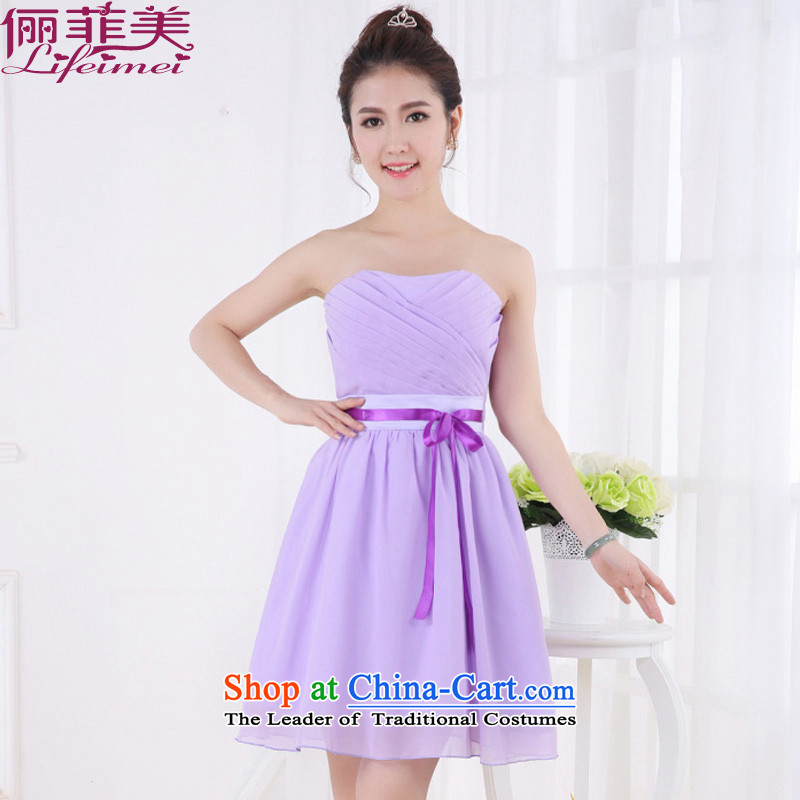2015 bridesmaid Dress Short, sister mission team performance ceremonial evening wiping the breast height waist Korea Sau San chiffon dresses purple will? F
