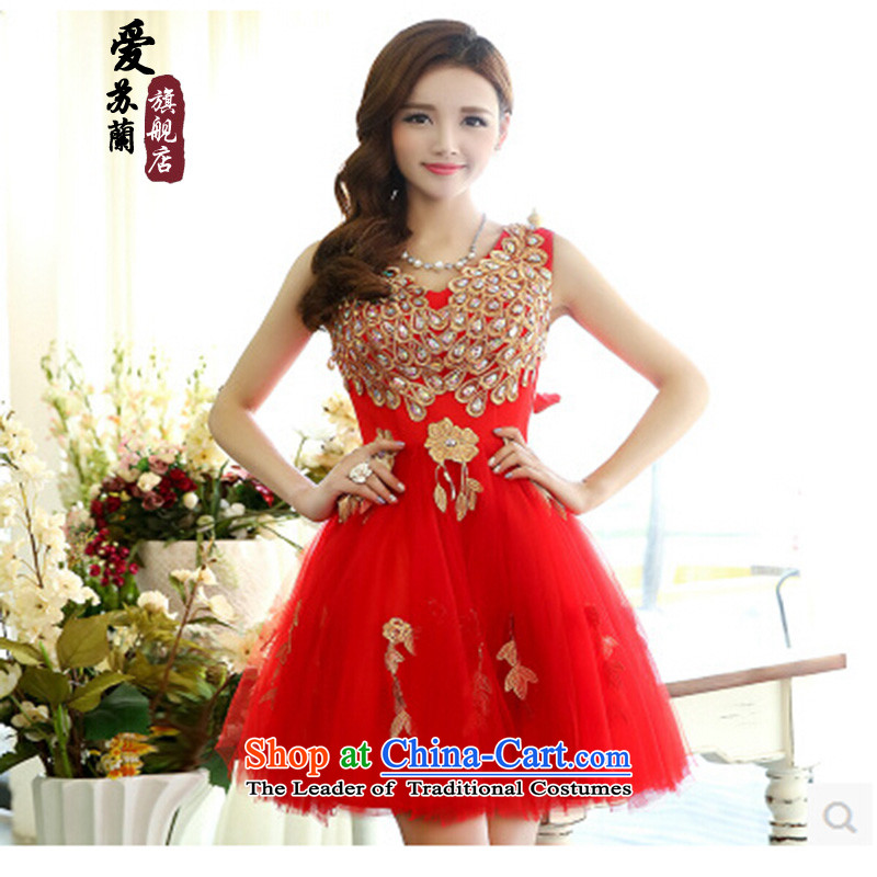 The new bride services bows Dress Short 2015 new spring wedding dresses and sexy thin video   V-Neck bon bon marriage evening dresses red?XL