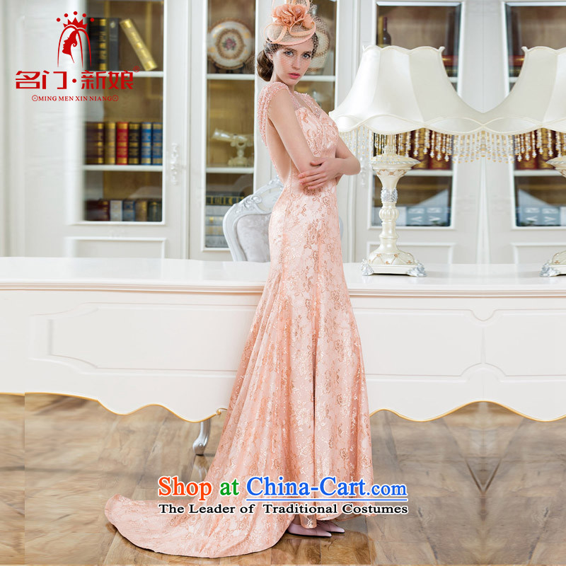 Name of the bride elegant known door dress small trailing dinner service handicraft embroidery lily silk Princess 2211 pink M