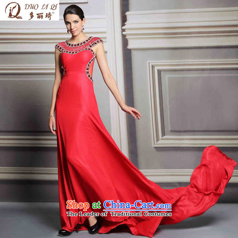 Doris Qi evening dresses banquet long red tail dress nails wedding dresses picture color pearl?XL