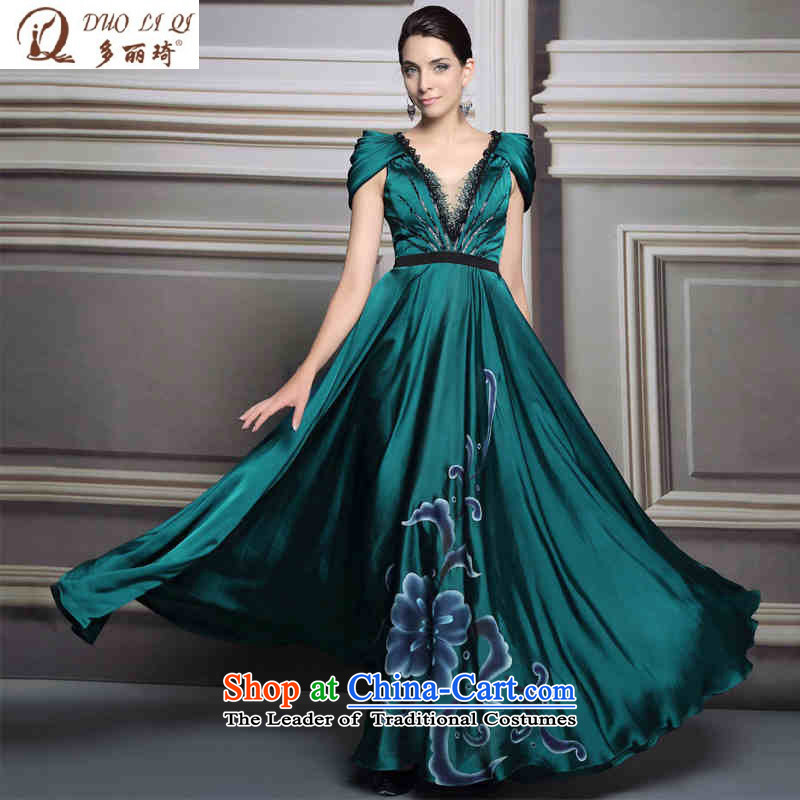 Doris Qi western dress Deep v-neck and sexy evening picture color聽L
