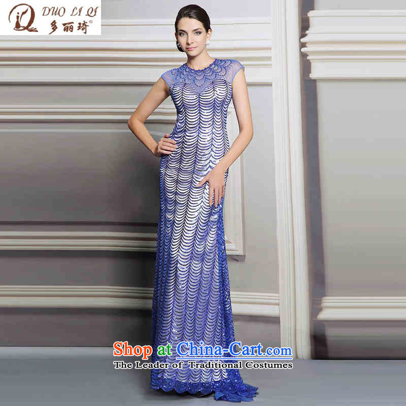 Doris Qi blue dress Sau San cars banquet nightclubs and sexy dropped evening picture color L