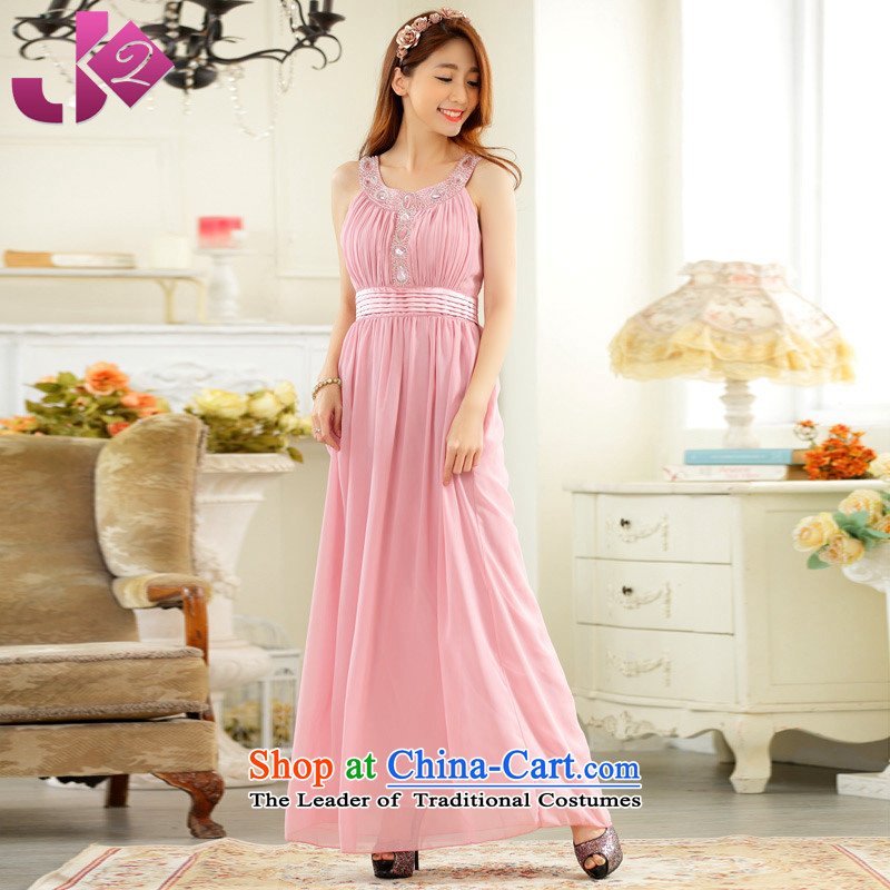 The spring and summer of 2015 New Jk2.yy_ annual meeting presided over long evening dresses clavicle Sau San diamond dropped chiffon long skirt xl female pink?2XL recommendations about 155