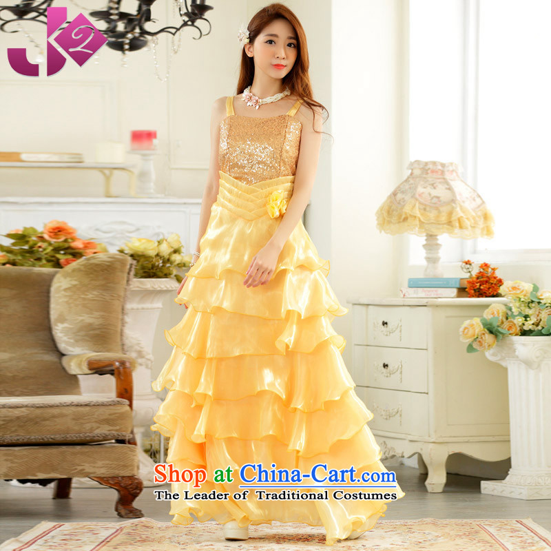 The spring and summer of 2015 New Jk2.yy) annual meeting under the auspices of the Exhibition Dance long evening dresses and red bows to the strap dresses yellow 3XL around 922.747 recommendation 175