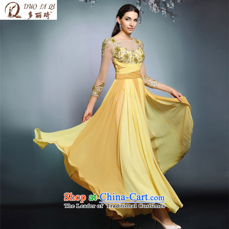 Doris Qi long-sleeved yellow dress retro palace long moderator performances dress picture color?XL