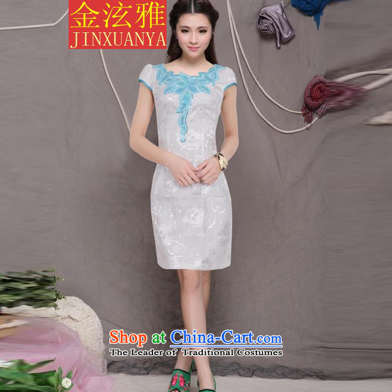 Kim Hyun ya 2015 Sau San stylish improved qipao retro dresses everyday dress blue