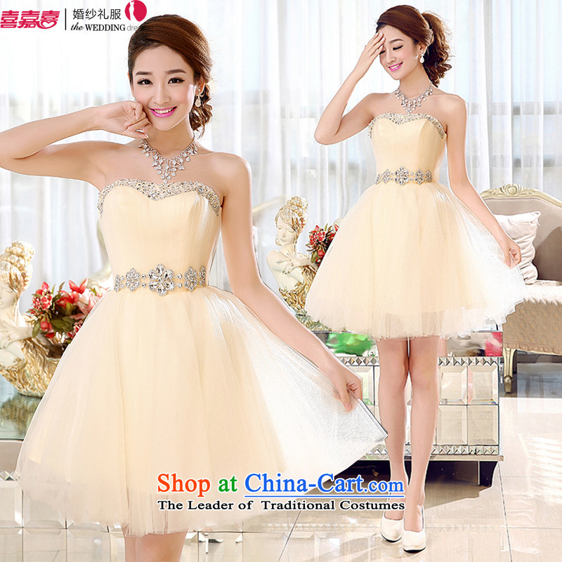 Kaki-hi-won The Princess Bride flowers and short of chest dress bridesmaid Services New 2015 autumn and winter X002 champagne color聽XS